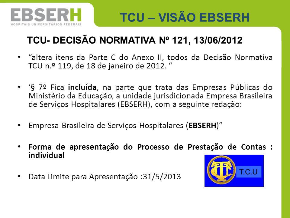 TCU – VISÃO EBSERH TCU- DECISÃO NORMATIVA Nº 121, 13/06/2012