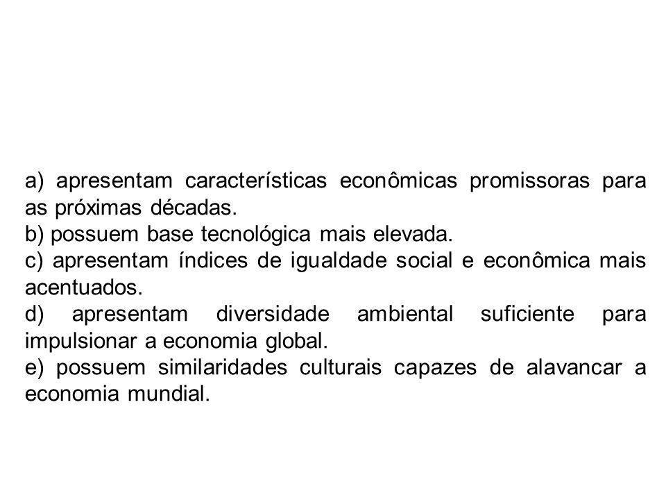 a) apresentam características econômicas promissoras para as próximas décadas.