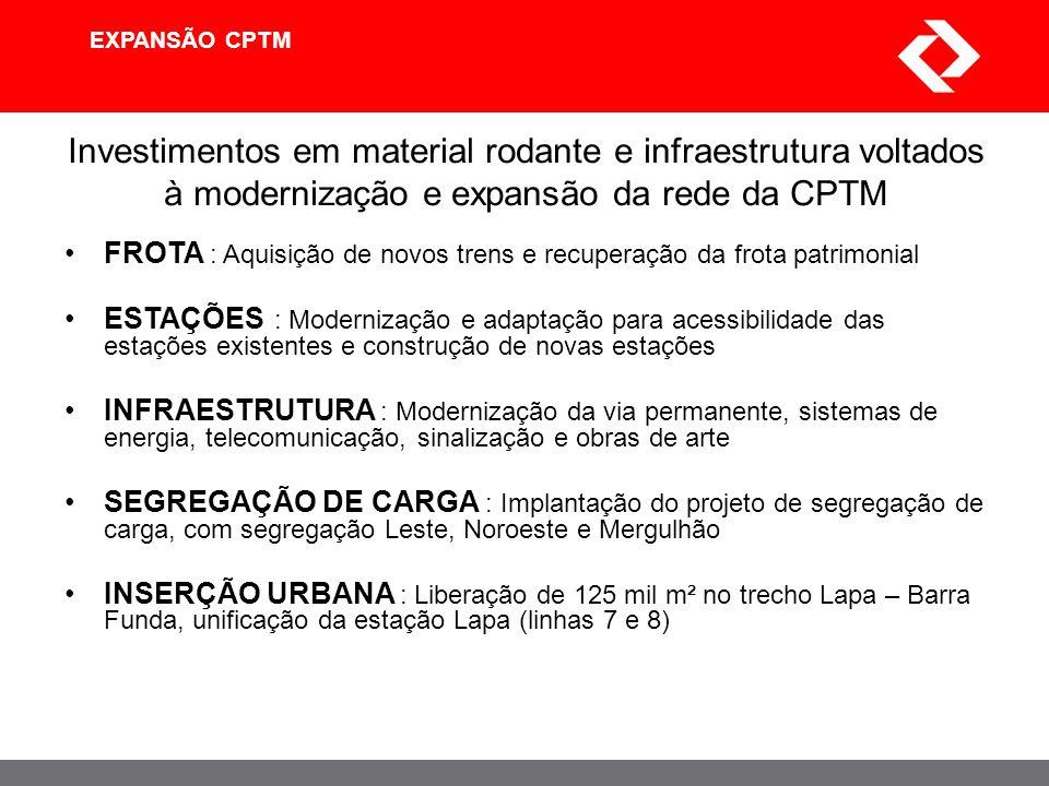 EXPANSÃO CPTM Investimentos em material rodante e infraestrutura voltados à modernização e expansão da rede da CPTM.