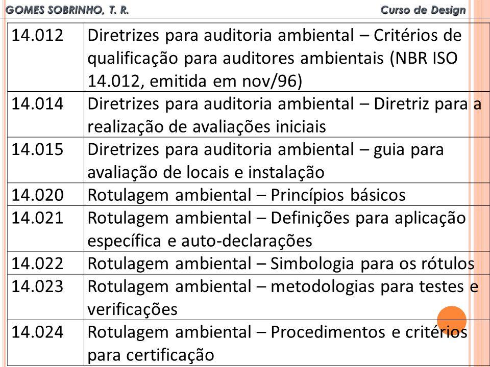 14.012 Diretrizes para auditoria ambiental – Critérios de qualificação para auditores ambientais (NBR ISO 14.012, emitida em nov/96)