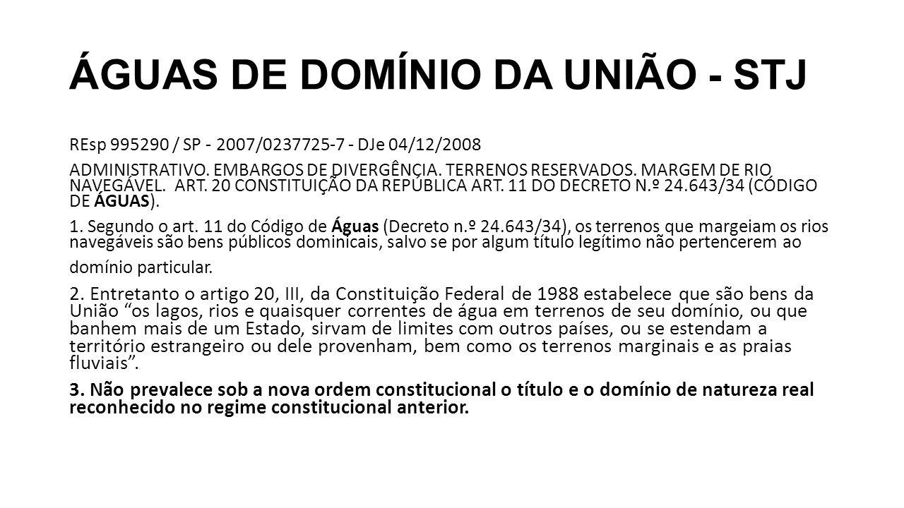 ÁGUAS DE DOMÍNIO DA UNIÃO - STJ