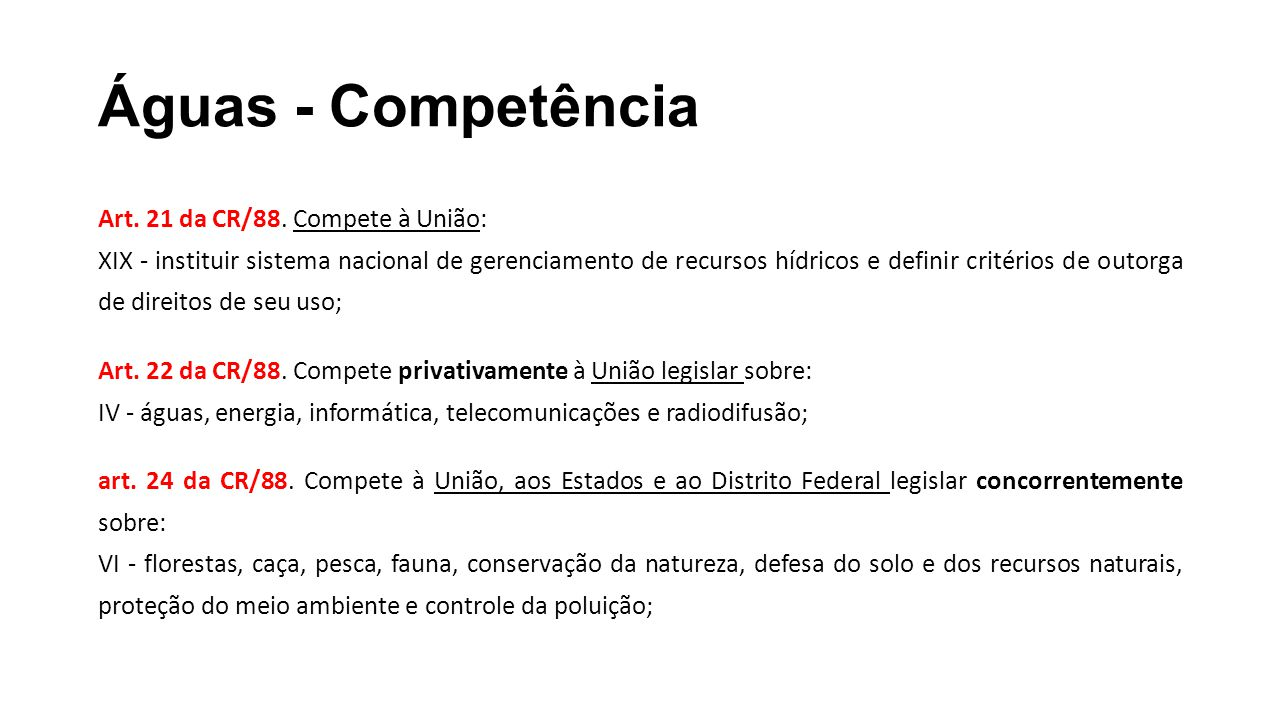Águas - Competência