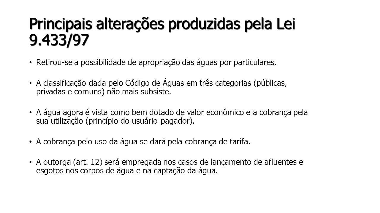 Principais alterações produzidas pela Lei 9.433/97