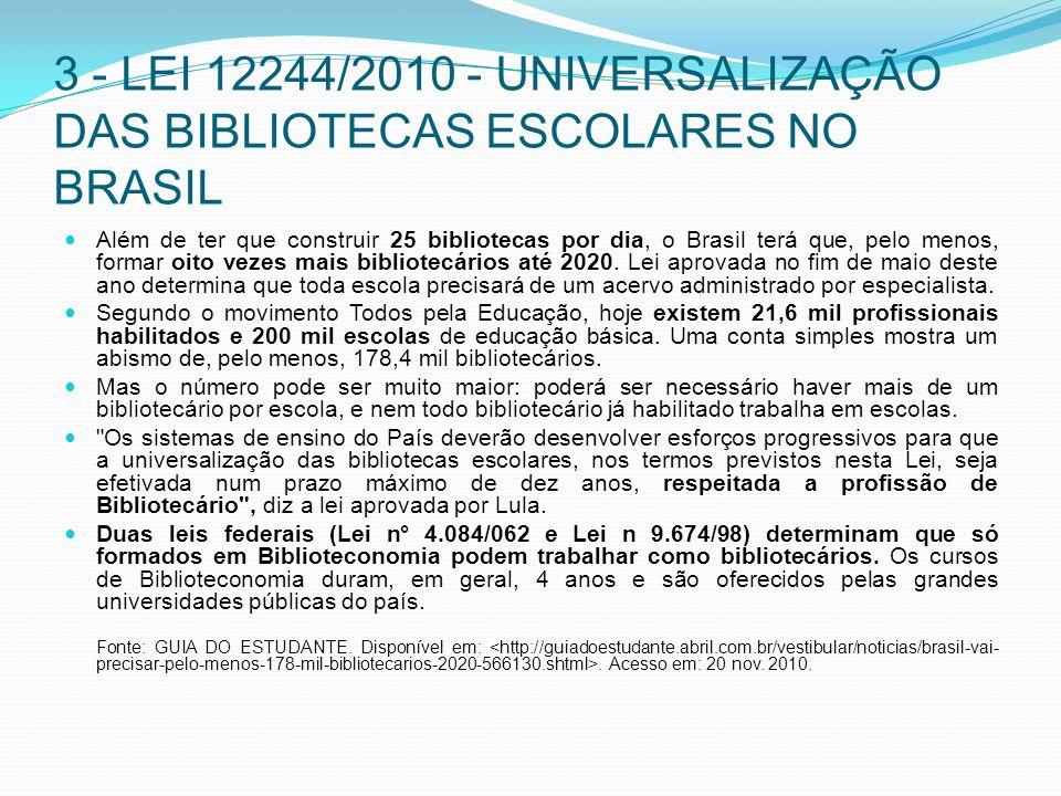3 - LEI 12244/2010 - UNIVERSALIZAÇÃO DAS BIBLIOTECAS ESCOLARES NO BRASIL