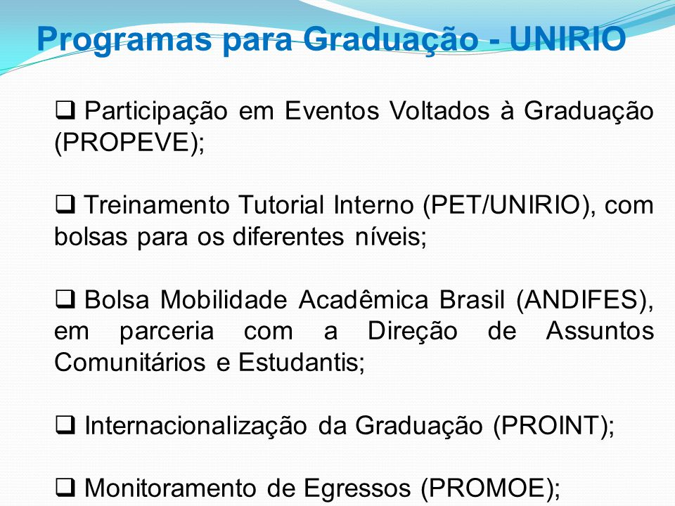 Programas para Graduação - UNIRIO