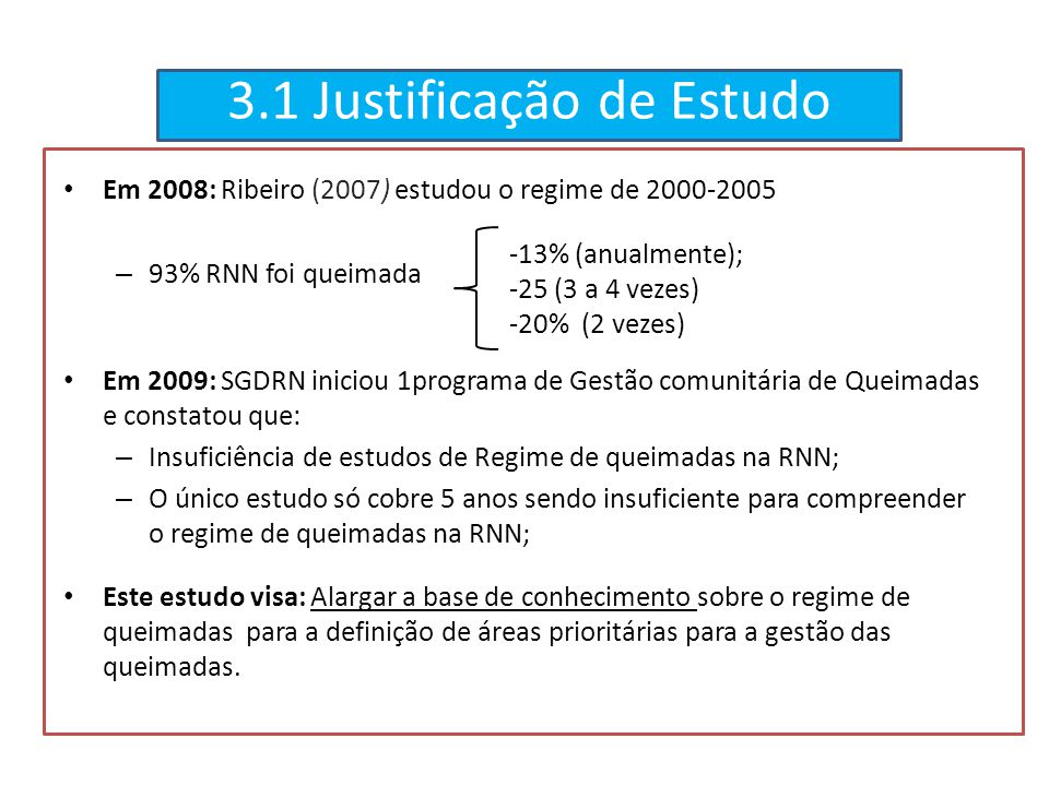 3.1 Justificação de Estudo