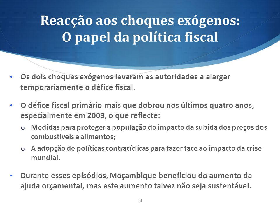 Reacção aos choques exógenos: O papel da política fiscal