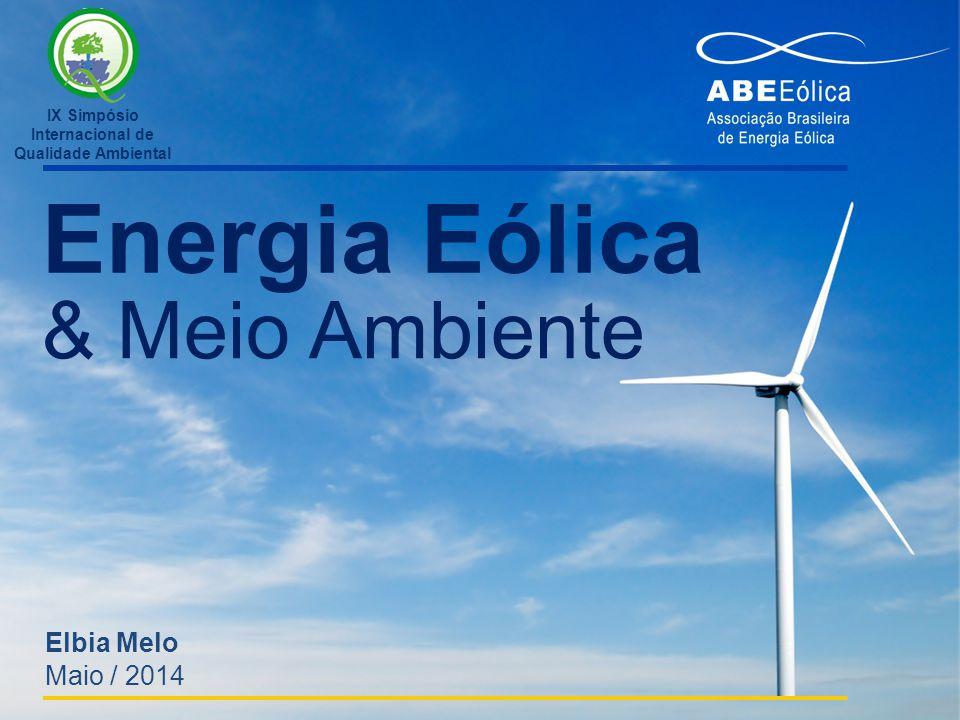 Energia Eólica & Meio Ambiente Elbia Melo Maio / 2014 IX Simpósio