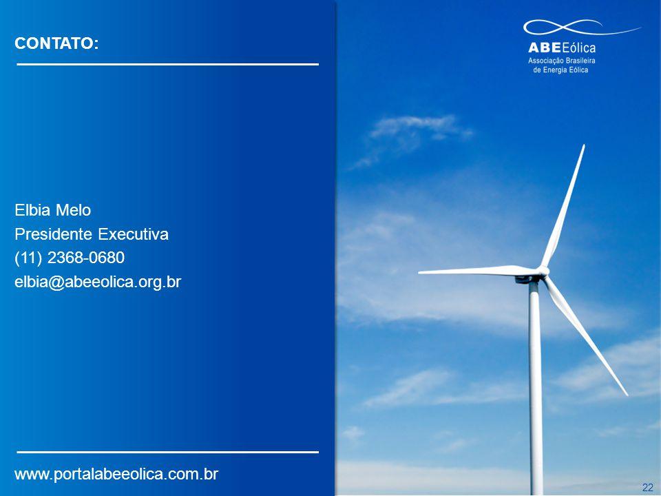 CONTATO: Elbia Melo. Presidente Executiva. (11) 2368-0680.