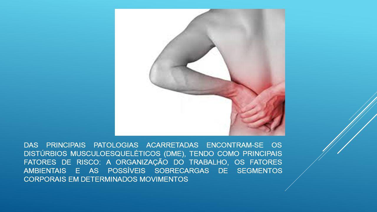 Das principais patologias acarretadas encontram-se os distúrbios musculoesqueléticos (DME), tendo como principais fatores de risco: a organização do trabalho, os fatores ambientais e as possíveis sobrecargas de segmentos corporais em determinados movimentos