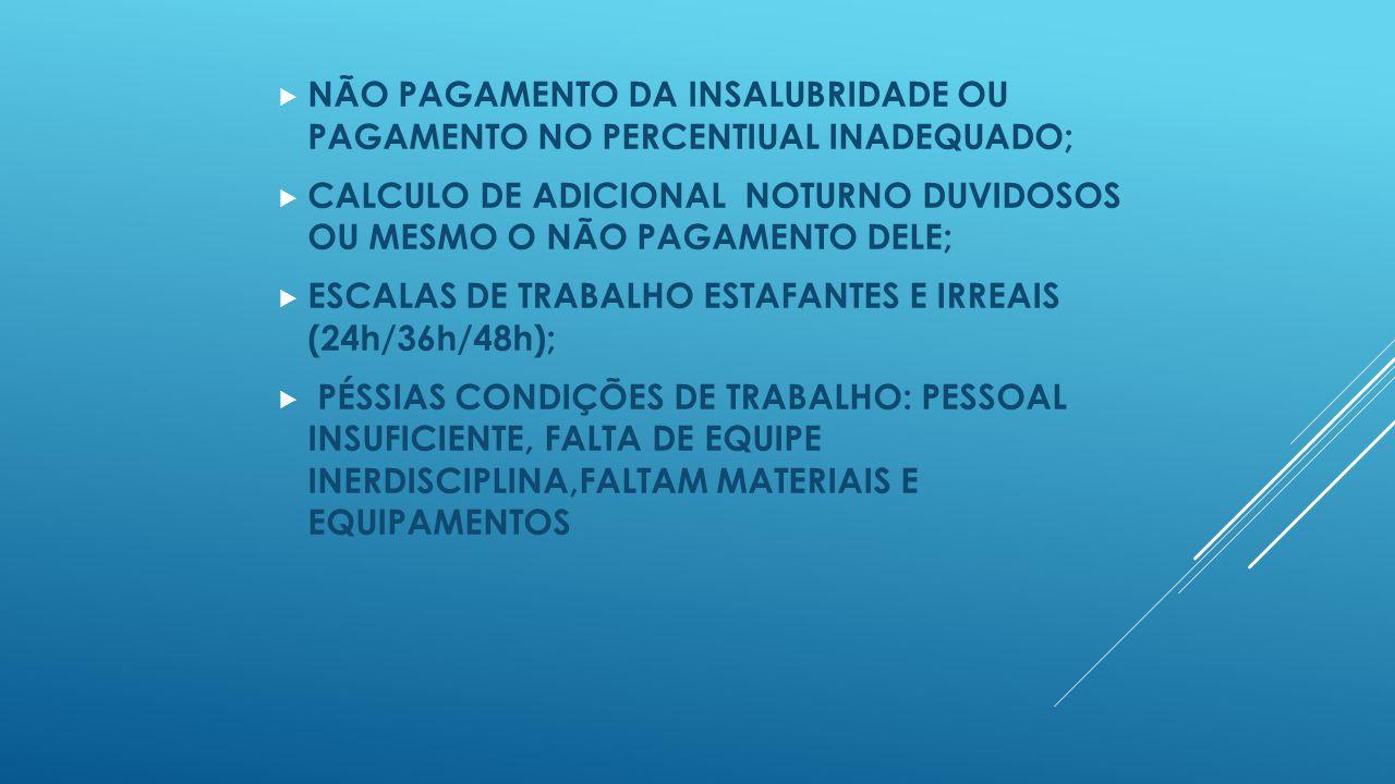 NÃO PAGAMENTO DA INSALUBRIDADE OU PAGAMENTO NO PERCENTIUAL INADEQUADO;