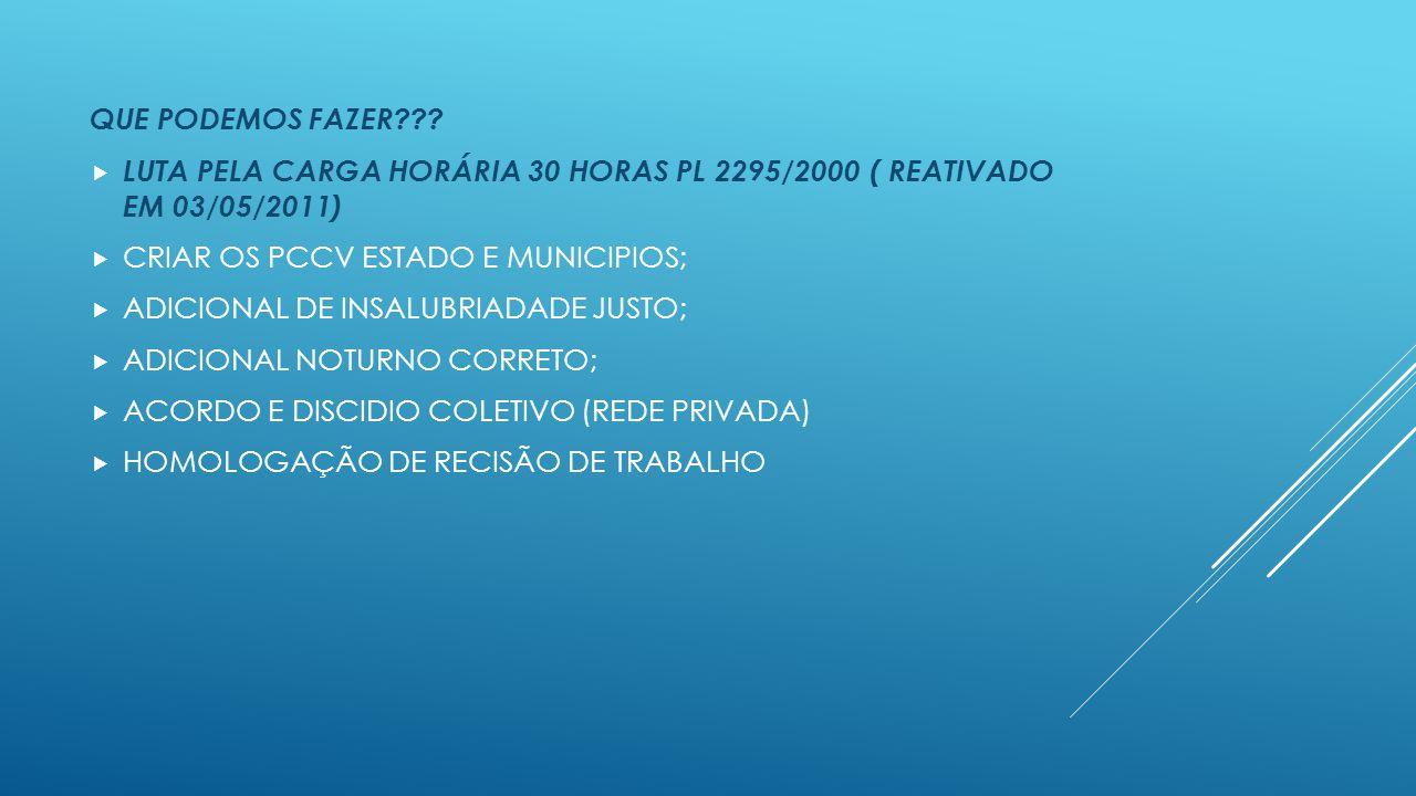 QUE PODEMOS FAZER LUTA PELA CARGA HORÁRIA 30 HORAS PL 2295/2000 ( REATIVADO EM 03/05/2011) CRIAR OS PCCV ESTADO E MUNICIPIOS;