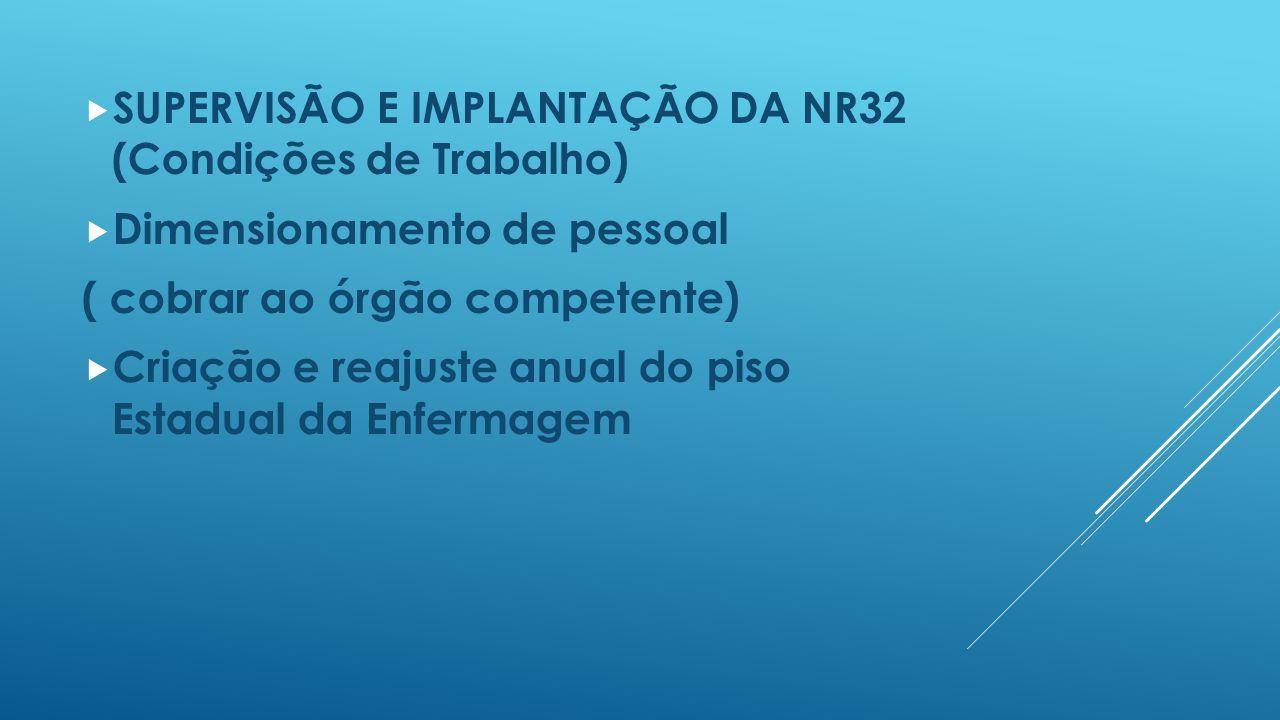 SUPERVISÃO E IMPLANTAÇÃO DA NR32 (Condições de Trabalho)
