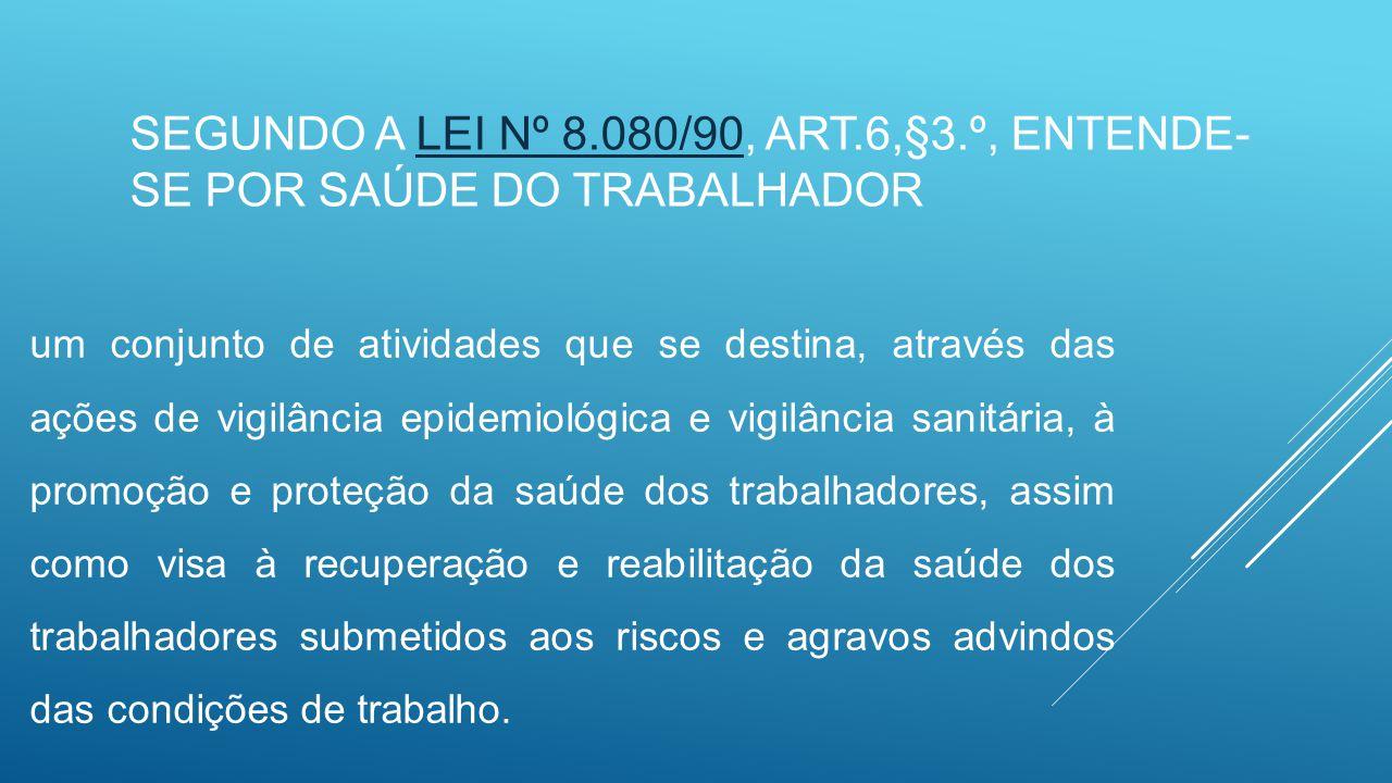 Segundo a Lei nº 8.080/90, art.6,§3.º, entende-se por saúde do trabalhador