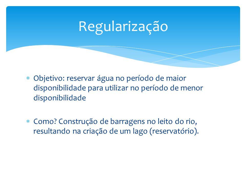 Regularização Objetivo: reservar água no período de maior disponibilidade para utilizar no período de menor disponibilidade.