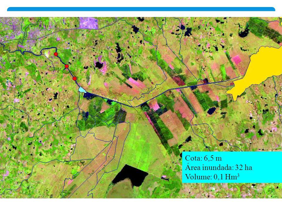 Cota: 6,5 m Área inundada: 32 ha Volume: 0,1 Hm3