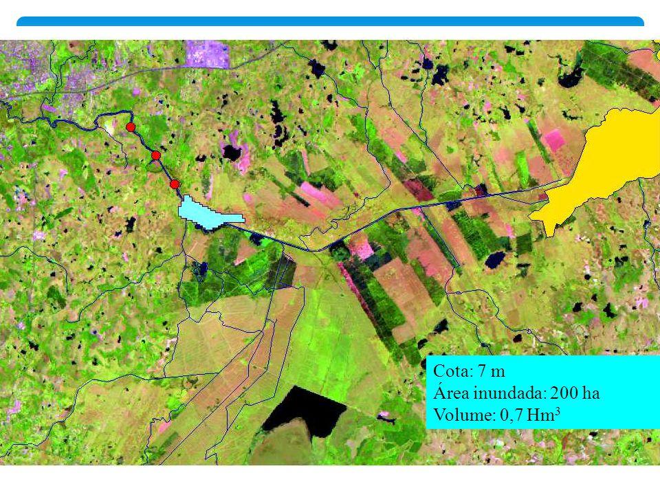 Cota: 7 m Área inundada: 200 ha Volume: 0,7 Hm3
