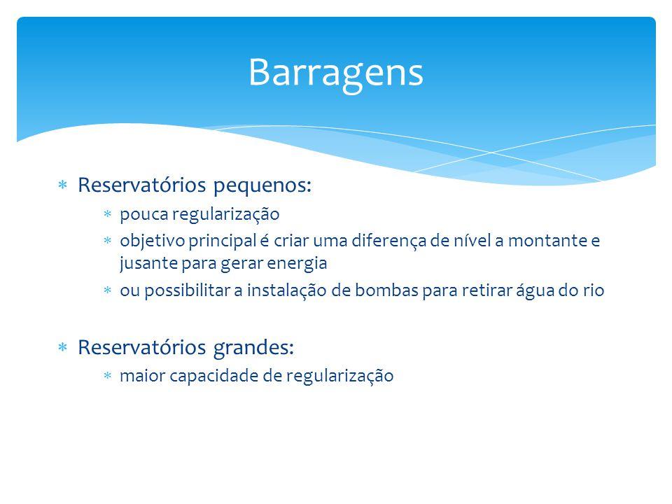 Barragens Reservatórios pequenos: Reservatórios grandes: