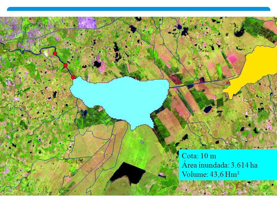 Cota: 10 m Área inundada: 3.614 ha Volume: 43,6 Hm3