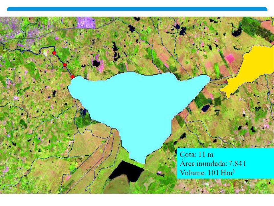 Cota: 11 m Área inundada: 7.841 Volume: 101 Hm3