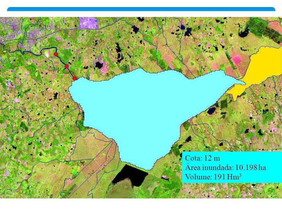 Cota: 12 m Área inundada: 10.198 ha Volume: 191 Hm3