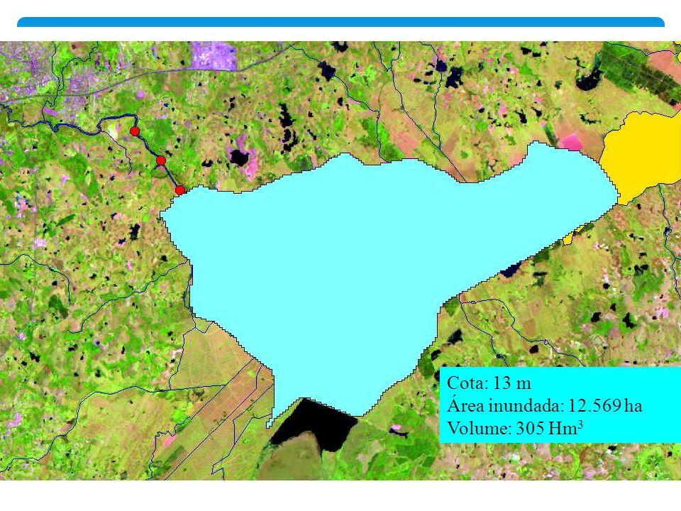 Cota: 13 m Área inundada: 12.569 ha Volume: 305 Hm3