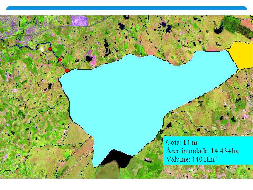Cota: 14 m Área inundada: 14.434 ha Volume: 440 Hm3
