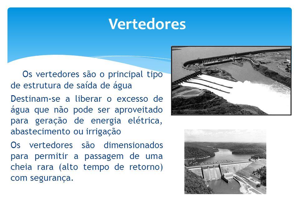 Vertedores Os vertedores são o principal tipo de estrutura de saída de água.