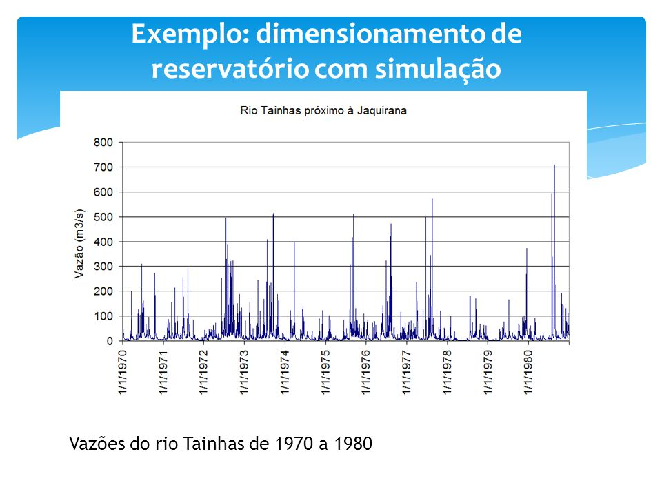 Exemplo: dimensionamento de reservatório com simulação