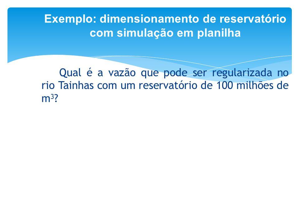 Exemplo: dimensionamento de reservatório com simulação em planilha