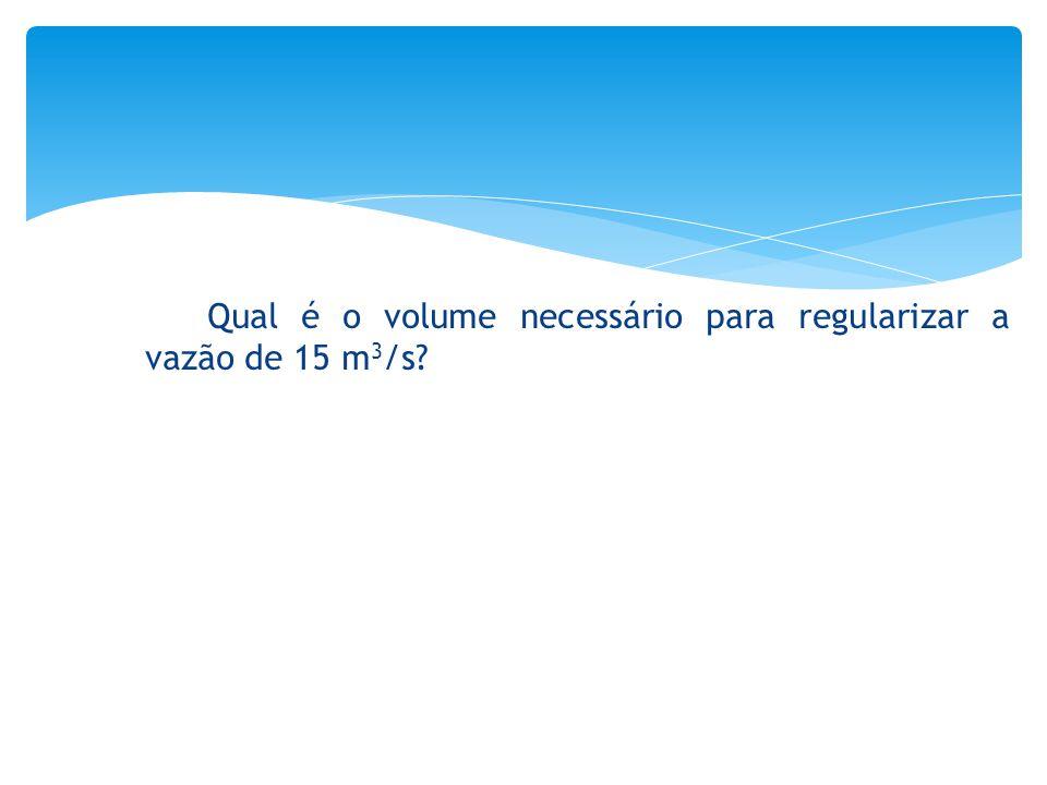Qual é o volume necessário para regularizar a vazão de 15 m3/s