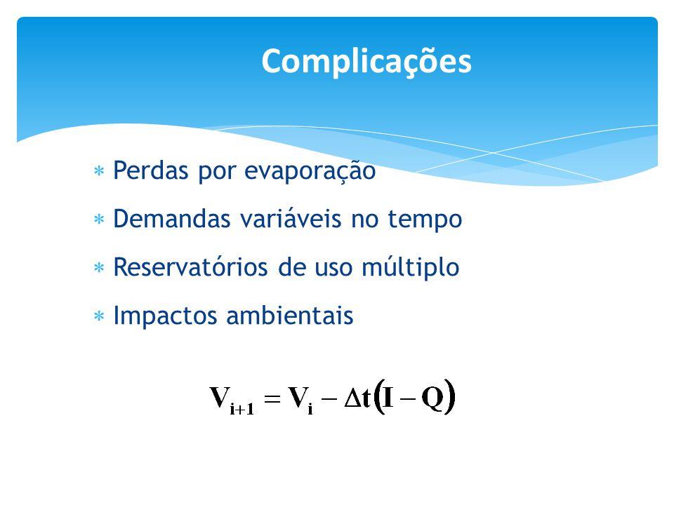 Complicações Perdas por evaporação Demandas variáveis no tempo