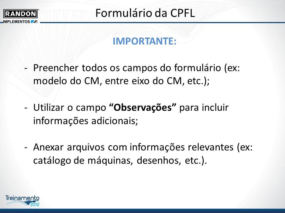 Formulário da CPFL IMPORTANTE: