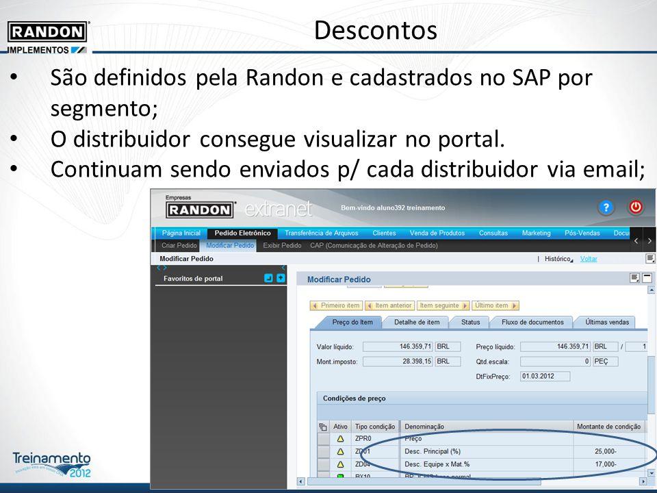 Descontos São definidos pela Randon e cadastrados no SAP por segmento;