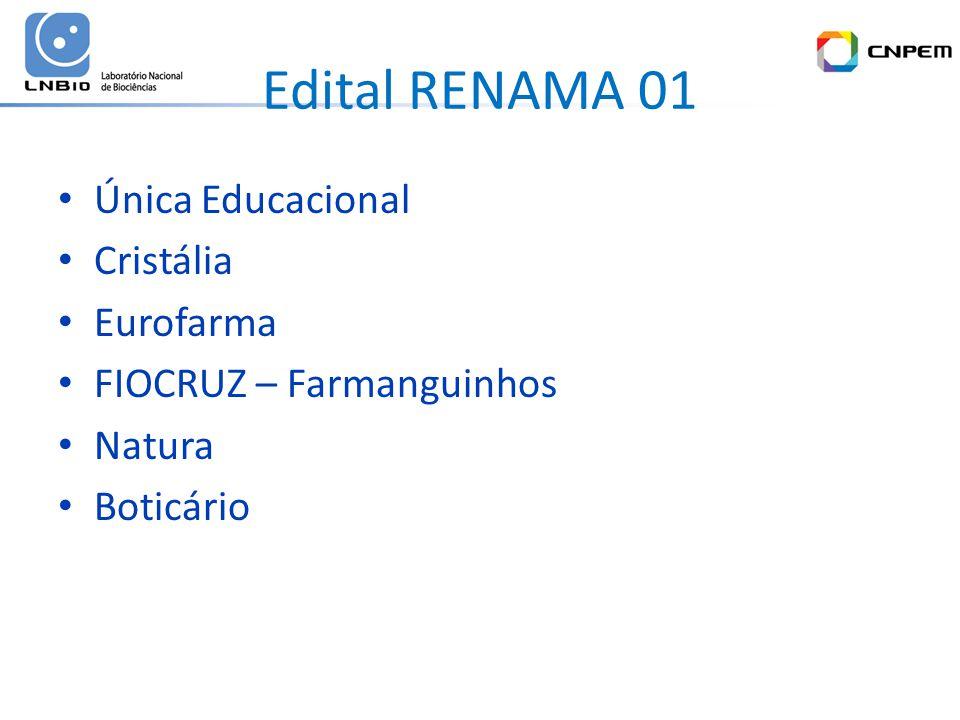 Edital RENAMA 01 Única Educacional Cristália Eurofarma