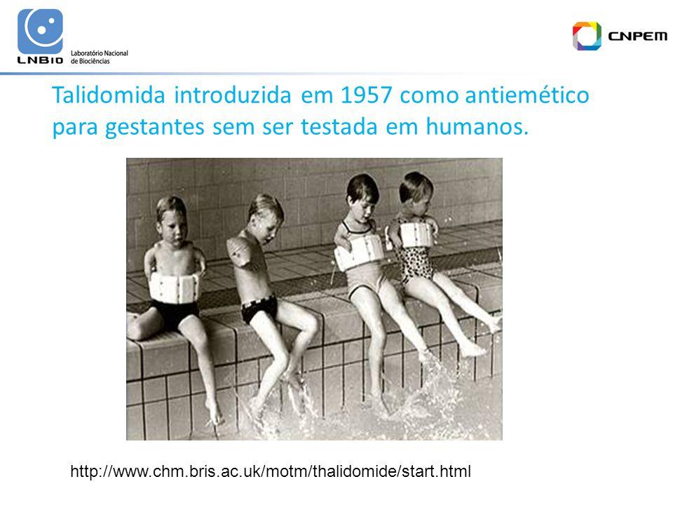 Talidomida introduzida em 1957 como antiemético para gestantes sem ser testada em humanos.