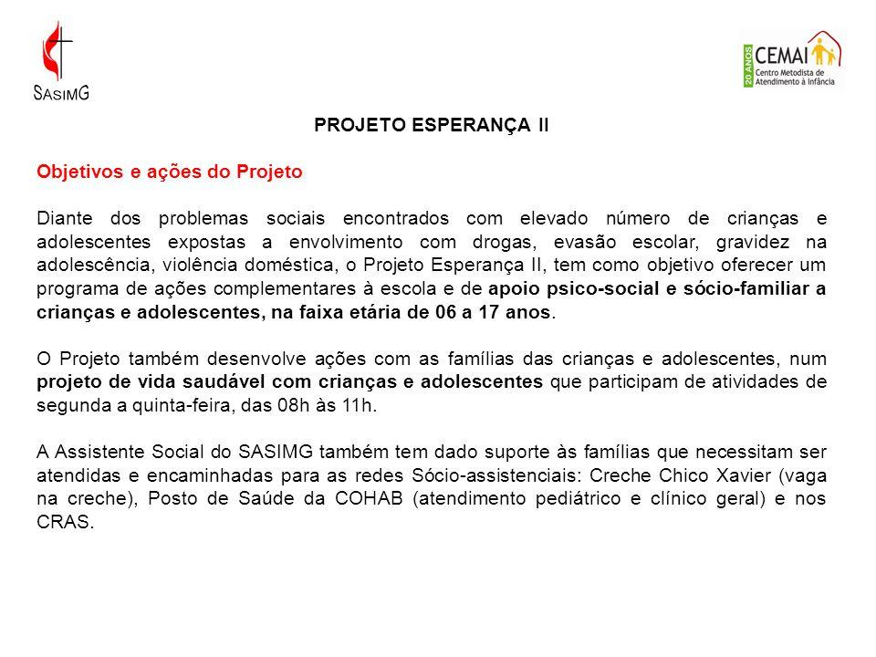 PROJETO ESPERANÇA II Objetivos e ações do Projeto.