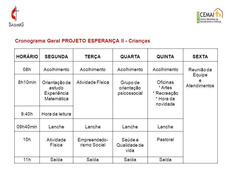 Cronograma Geral PROJETO ESPERANÇA II - Crianças