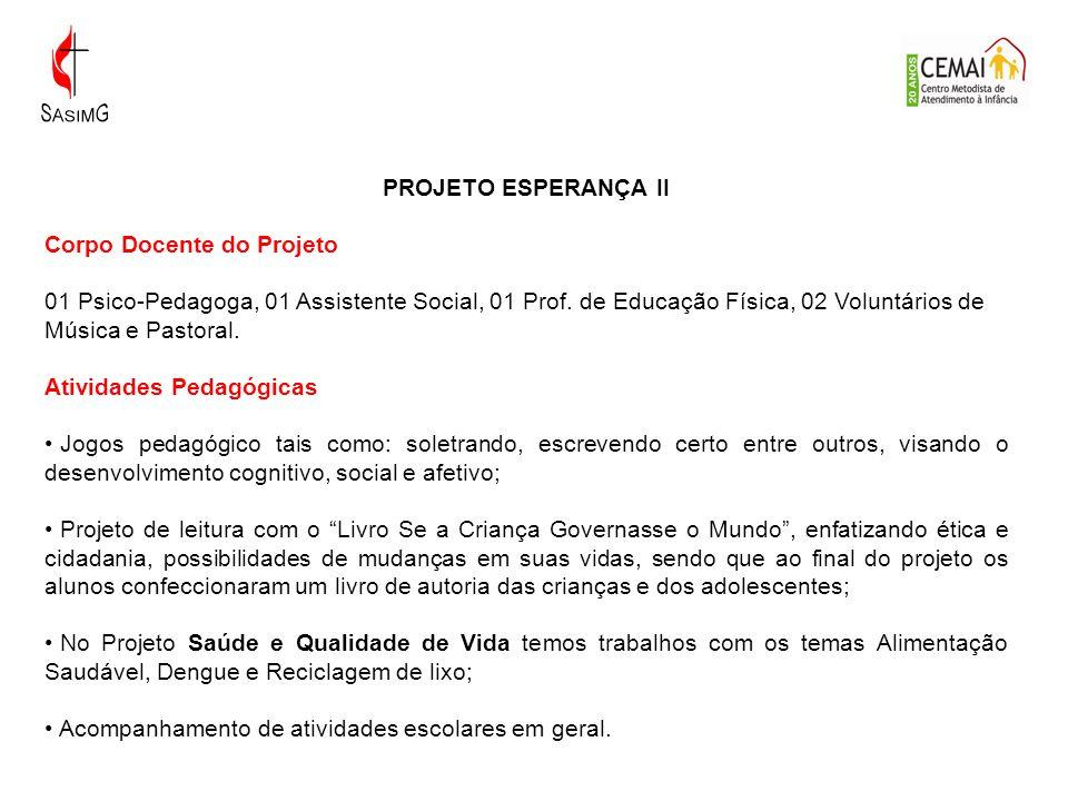 PROJETO ESPERANÇA II Corpo Docente do Projeto.