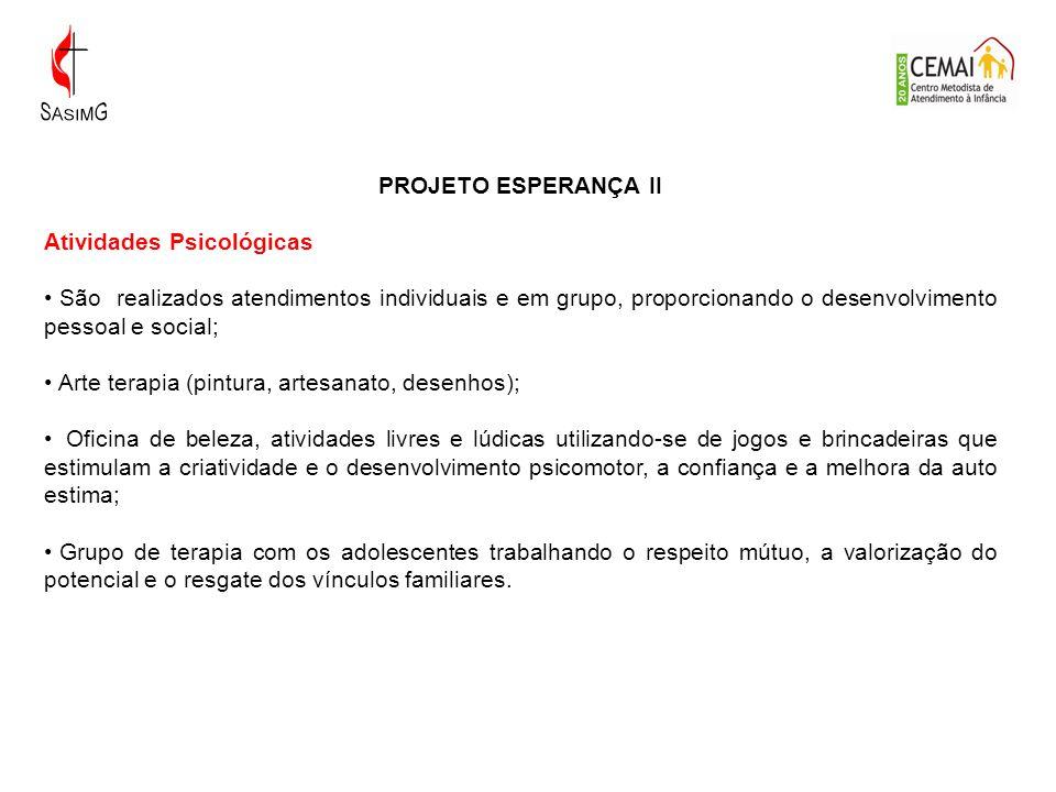 PROJETO ESPERANÇA II Atividades Psicológicas.