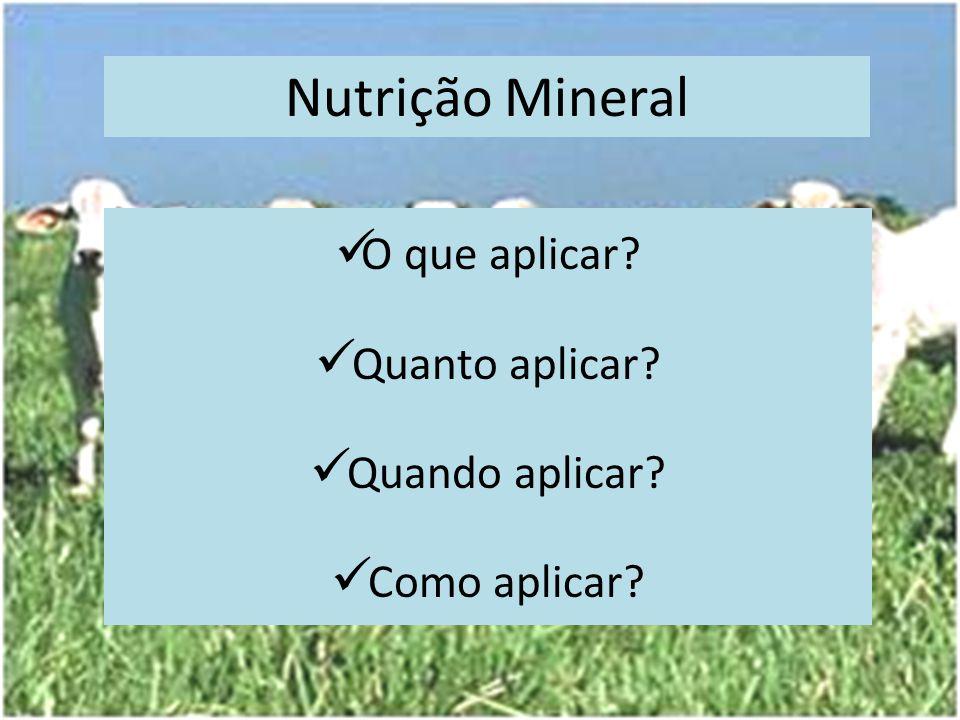 Nutrição Mineral O que aplicar Quanto aplicar Quando aplicar