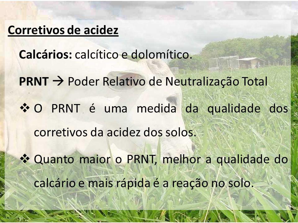 Corretivos de acidez Calcários: calcítico e dolomítico. PRNT  Poder Relativo de Neutralização Total.