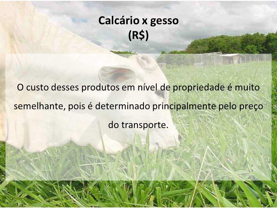 Calcário x gesso (R$) O custo desses produtos em nível de propriedade é muito semelhante, pois é determinado principalmente pelo preço do transporte.