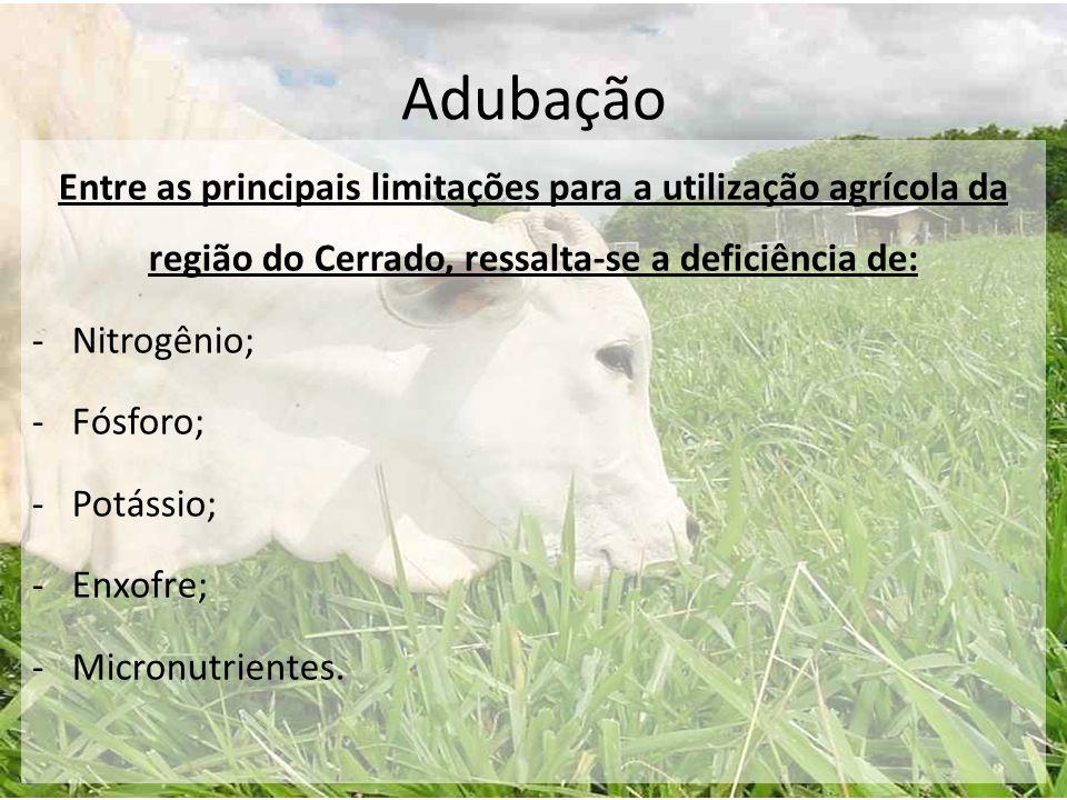 Adubação Entre as principais limitações para a utilização agrícola da região do Cerrado, ressalta-se a deficiência de: