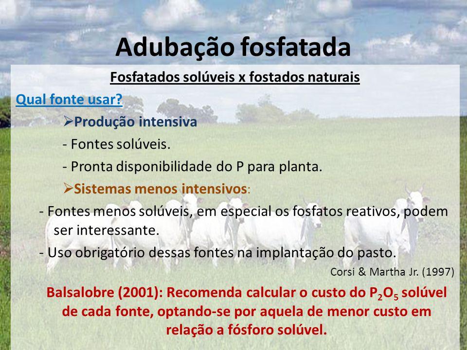 Fosfatados solúveis x fostados naturais