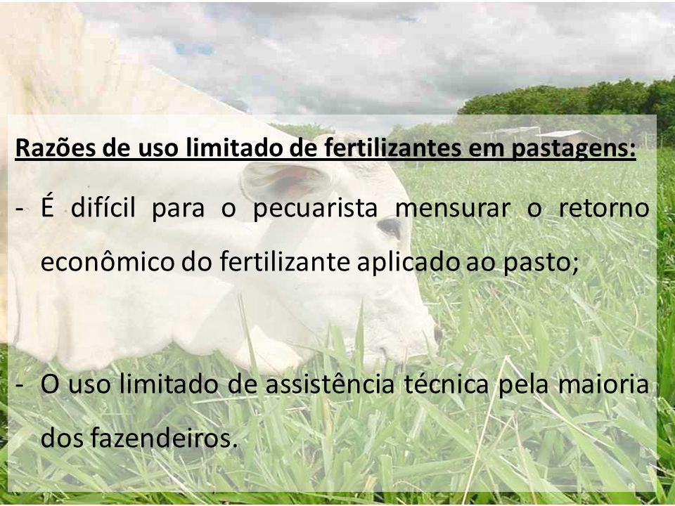 O uso limitado de assistência técnica pela maioria dos fazendeiros.