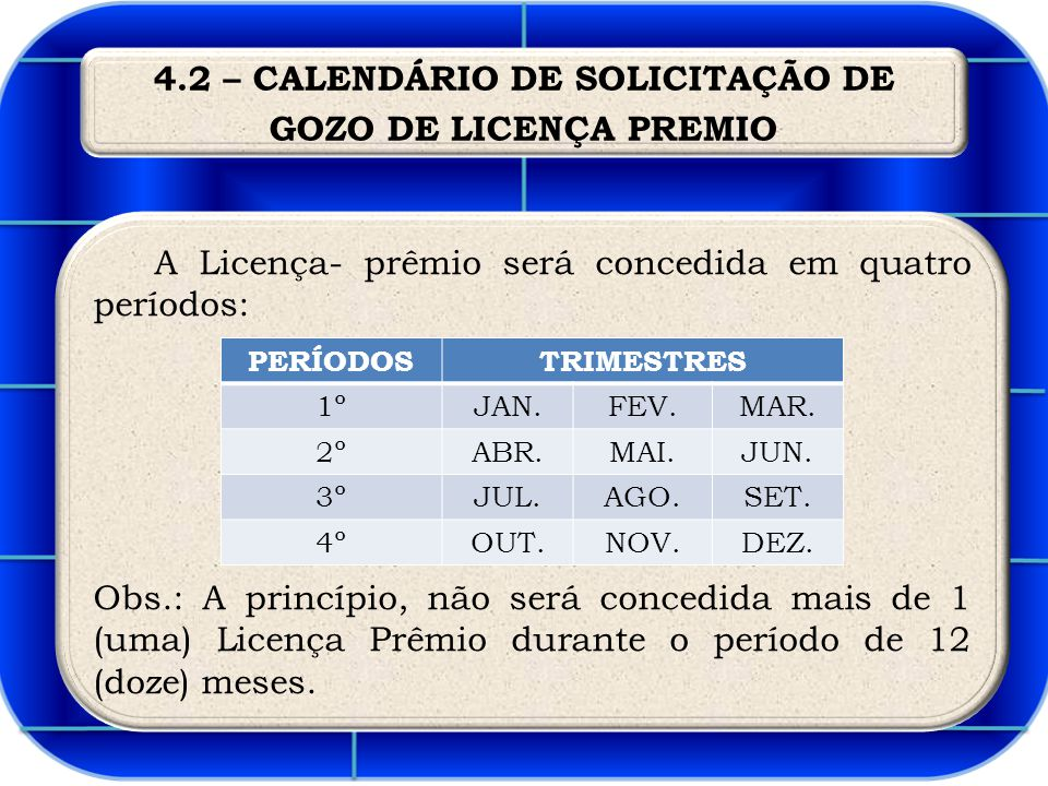4.2 – CALENDÁRIO DE SOLICITAÇÃO DE