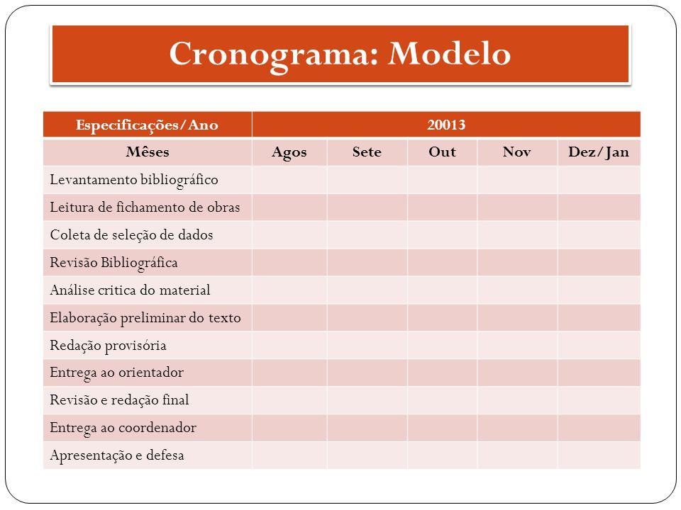 Cronograma: Modelo Especificações/Ano 20013 Mêses Agos Sete Out Nov