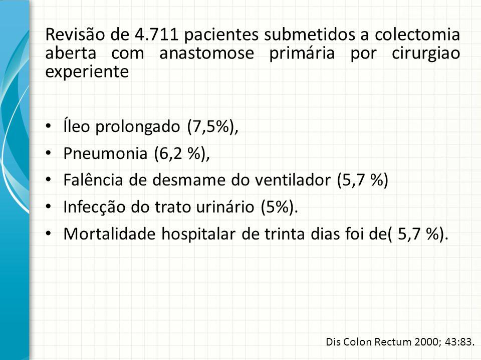 Revisão de 4.711 pacientes submetidos a colectomia aberta com anastomose primária por cirurgiao experiente