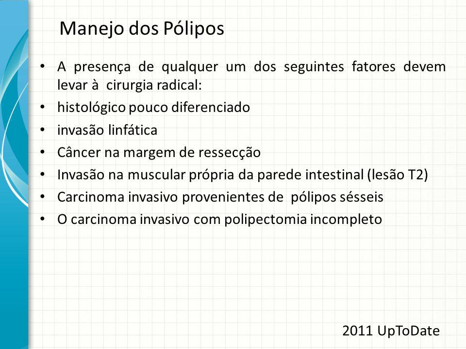 Manejo dos Pólipos A presença de qualquer um dos seguintes fatores devem levar à cirurgia radical: